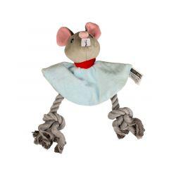 Pluche muis met touw 18cm voor hond
